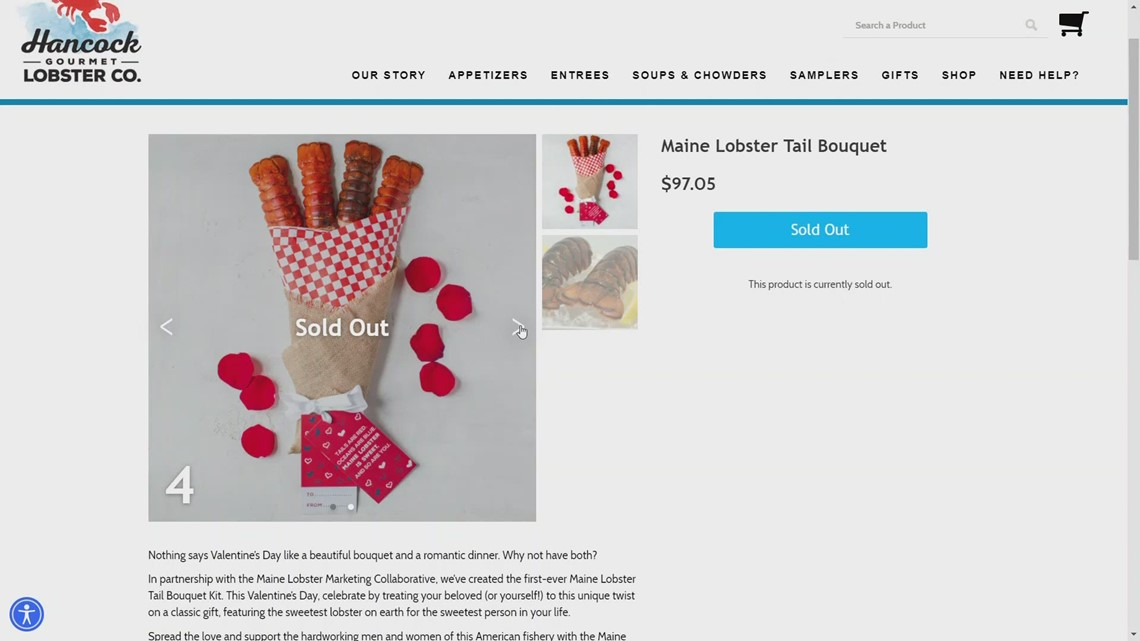 Maine lobster tail bouquet is a big hit