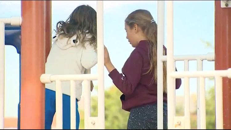 Katya and Elisabeth at recess.