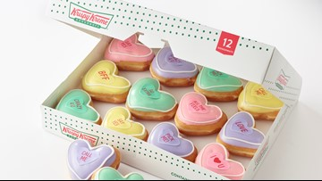 Krispy Kreme Is Saving Valentine's Day With Their 'Candy Conversation Hearts' Doughnuts