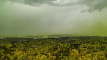 Aerial photo shows pollen haze over Durham, North Carolina