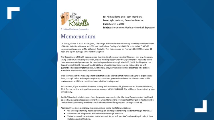 Memorandum to families from The Village at Rockville