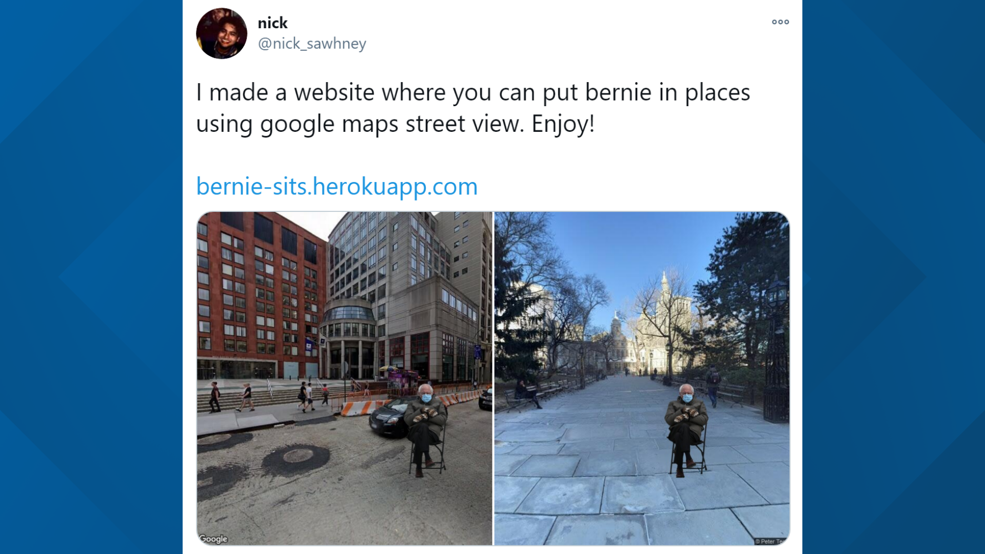 Put Bernie Anywhere An Nyu Grad Student Created A Way To See Bernie Sanders And His Mittens At Any Address Newscentermaine Com