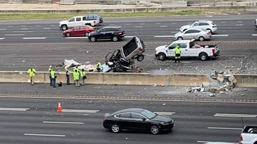 Truck crashes onto I-75 off overpass near Atlanta